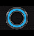 abstract blue metal circle on black mesh vector image vector image