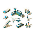 airport isometric control travellers checking vector image