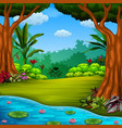 beautiful forest with the lake and lotus vector image vector image
