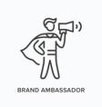 brand ambassador flat line icon outline vector image vector image