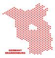 brandenburg land map - mosaic of heart hearts vector image vector image
