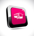 Bus 3d square button vector image vector image