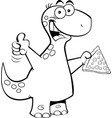 cartoon brontosaurus holding a slice of pizza vector image vector image