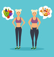 cartoon character fat woman and lean girl diet vector image