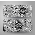 Cartoon line art doodles tea banners vector image vector image