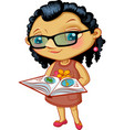 Character fashionable small girl with book vector image