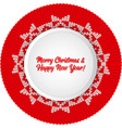 christmas round pattern knit card template for vector image vector image