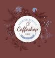 coffeshop round paper emblem over hand sketched vector image vector image