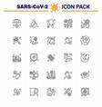 coronavirus prevention 25 icon set blue lung vector image vector image