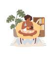 dark skinned mom breastfeeding her newborn baby vector image vector image