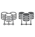 data center line and glyph icon data vector image vector image
