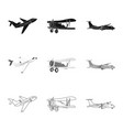 design of plane and transport symbol vector image vector image