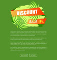 discount with 15 off only at summer promo poster vector image vector image