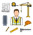 Engineer sketch icon for civil engineering design vector image vector image