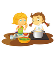 Girls cooking vector image