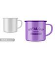 glossy white enamel metal cup mockup vector image