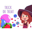 halloween banner with cartoon character witch vector image