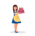 hostess holds a beautiful cake vector image