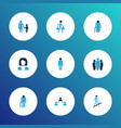 human icons colored set with businesswoman team vector image