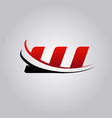 initial w letter logo with swoosh colored red and vector image vector image