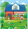 kids raking leaves at home vector image vector image