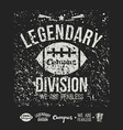 Legendary division rugby emblem and icons black vector image