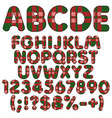 letters numbers and signs from felt fabric tartan vector image vector image