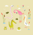 lizard frogs alligators crocodiles and flamingo vector image vector image
