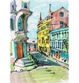 marker painting of cityscape vector image vector image