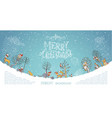 merry christmas woodland background vector image vector image