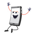 mobile phone happy character with face and vector image