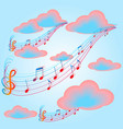 music in clouds vector image