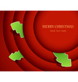 Red circles with christmas tree badges vector image vector image