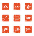 rescue worker icons set grunge style vector image vector image