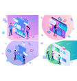 set isometric young people collect analyze data vector image
