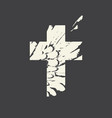 sign christian cross with feathers inside vector image vector image