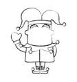 sketch draw jester cartoon vector image