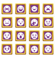 smiles icons set purple square vector image vector image