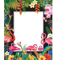 summer party poster with flamingoes and flowers vector image vector image