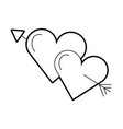two love hearts romantic cupid valentine image vector image vector image
