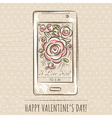 valentine card with smartphone and roses vector image