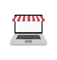 web online store laptop with awning vector image vector image
