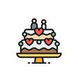 wedding cake with figures newlyweds flat color vector image vector image