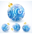White christmas balls with blue floral ornament vector image vector image