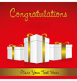 white gift boxes with golden ribbons in perspectiv vector image