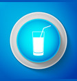 white soft drink icon isolated on blue background vector image