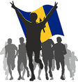 Winner with the Barbados flag at the finish vector image vector image