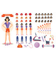 young woman athlete character creation set vector image