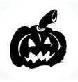 hand drawn jack-o-lantern on white background vector image