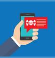 smartphone in danger red alert vector image